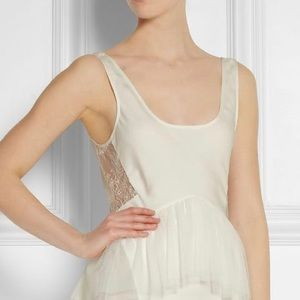 Jason Wu Lace Paneled Silk Crepe de Chine Blouse